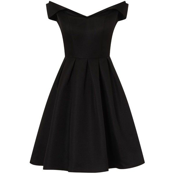 Chi Chi London Fold Over Bardot Midi Dress ($84) ❤ liked on Polyvore featuring dresses, black, women, pleated midi dress, fit flare dress, mesh dress, calf length dresses and mesh cocktail dress