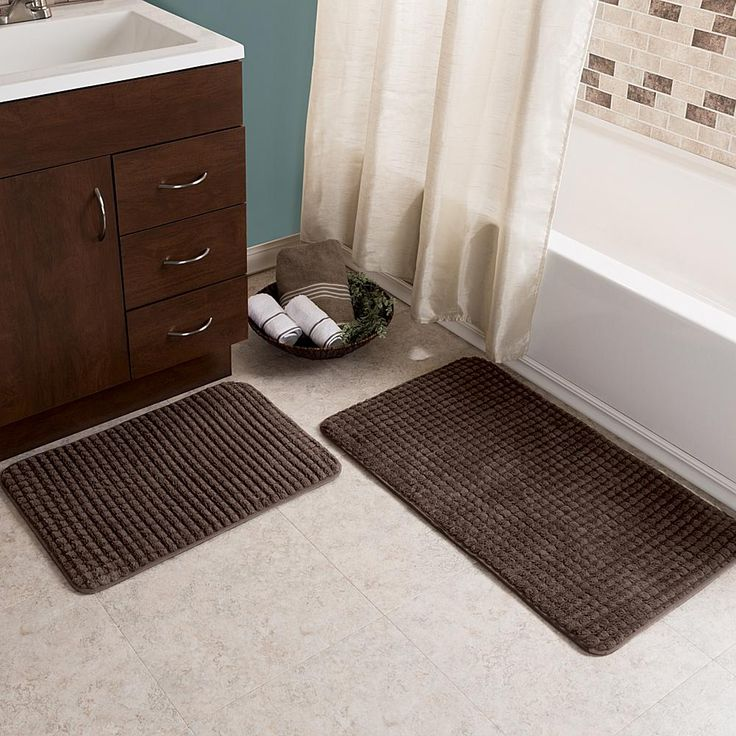 Trademark Global Lavish Home Jacquard Fleece Memory Foam Bath Mat 2-piece Set - Brown