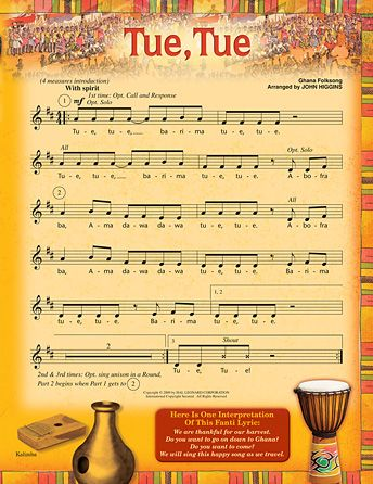 "Learn all about West Africa with this traditional folk song from Ghana. Read a story about the New Yam Festival and add African hand drums and other percussion instruments as the lesson plan suggests. ""Tue, Tue"" is easy to learn, and can be sung as a round. Recorded pronunciation guide and translation of the Fanti lyrics are included.<br><br>This Lesson Pak download contains:<br><br>• Singer Pages (printable, reproducible, projectable, colorful PDF format)<br>&lt..."