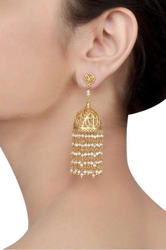 Silver Gold Plated Jaali Jhumki Hanging Pearl Earrings