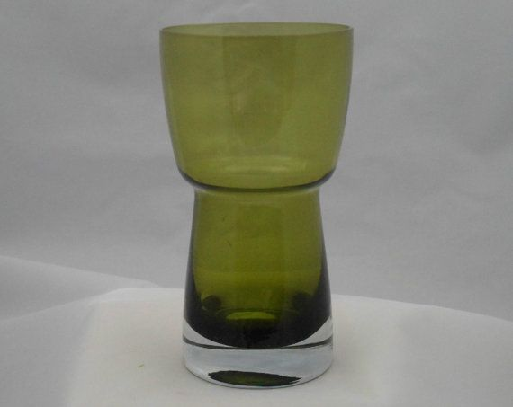 Riihimaki green glass vase by  Aimo by LincolnCollectibles on Etsy