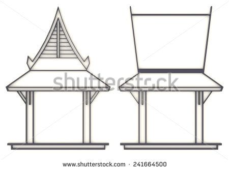 3D elevation drawing of south-east Asian pavilion or