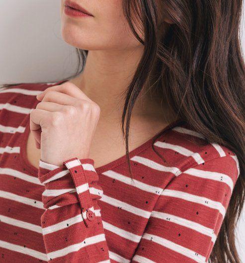 Camiseta de rayas marinera rayas rojas - Promod