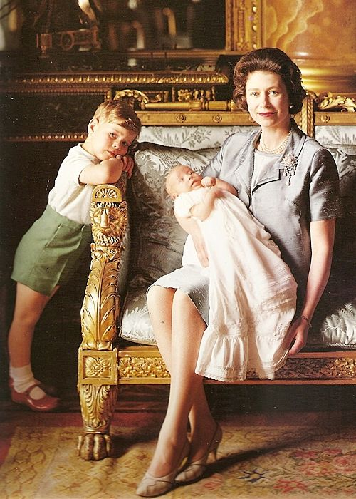 Queen Elizabeth II with Prince Andrew and Prince Edward at Buckingham Palace, photographed by Cecil Beaton ~ 1964