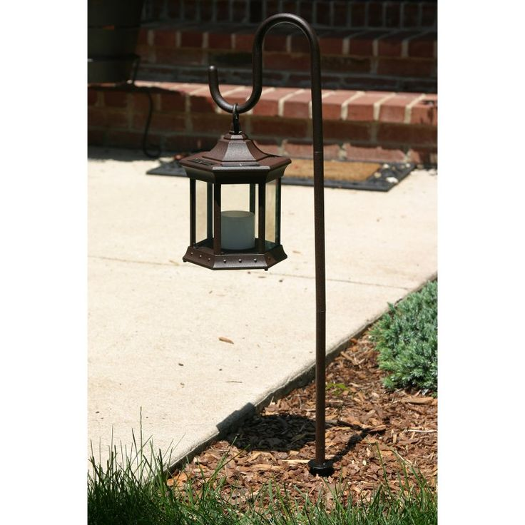 Starlite Garden U0026 Patio Torche Co. Solar LED Lantern With Shepherds Hook  Stand   Clear