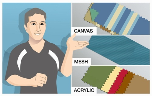 Different types of awning fabric from Blockout Blinds...