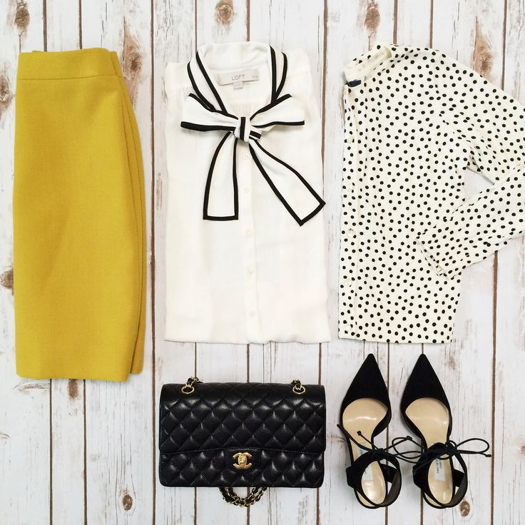 Outfit Layout - J.Crew No. 2 chartruese pencil skirt, Loft tipped bow top, polkadot cardigan and Chanel medium flap