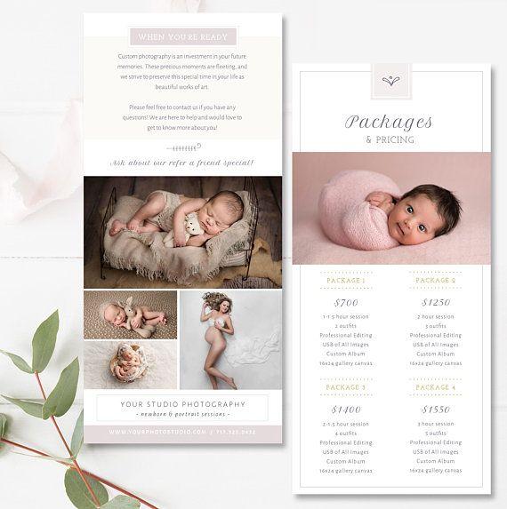 Rack Card Template Newborn Photographer Pricing Templates Etsy Photography Price List Template Photography Price List Price List Template