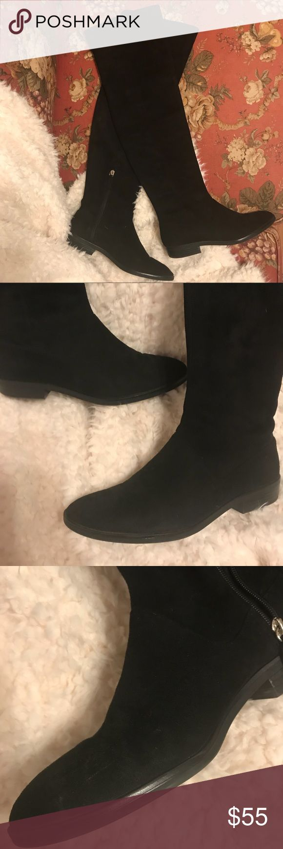 Zara • [39] over the knee boots (Faux?) suede flat OTK boots from Zara.  So cute, I actually can't believe I'm selling them.  But I have to downsize!  Great over jeans, leggings, or tights.  A few minor scuffs but nothing really noticeable.  Size 39, fits an 8. Zara Shoes Over the Knee Boots