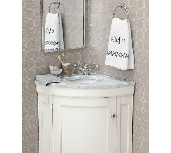 Corner vanity ideas - where to place mirror.