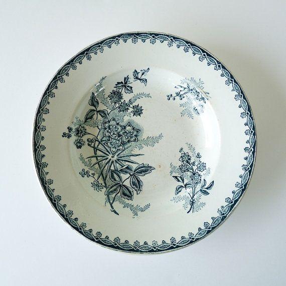 Faience Blue Transferware Soup Dish - bowl  Terre de Fer - Antique French Plate  - Decorative Plate