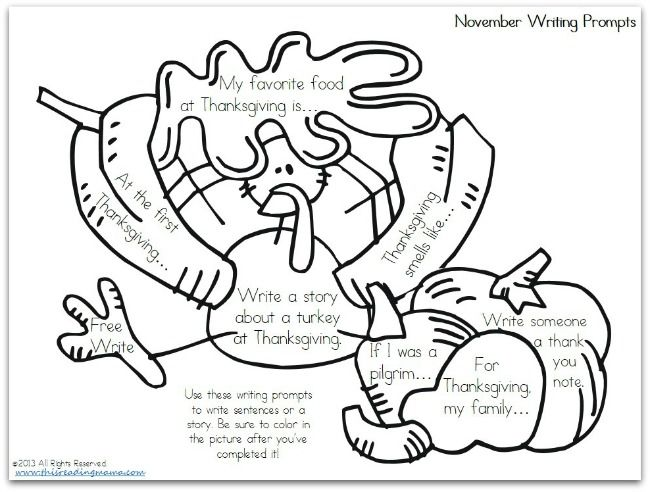 FREE November Writing Prompts~ Pick a prompt, write, then color in that portion of the picture | This Reading Mama