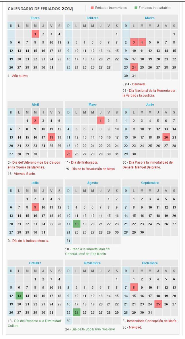 Feriados 2014: el calendario de días no laborables para la Argentina - lanacion.com