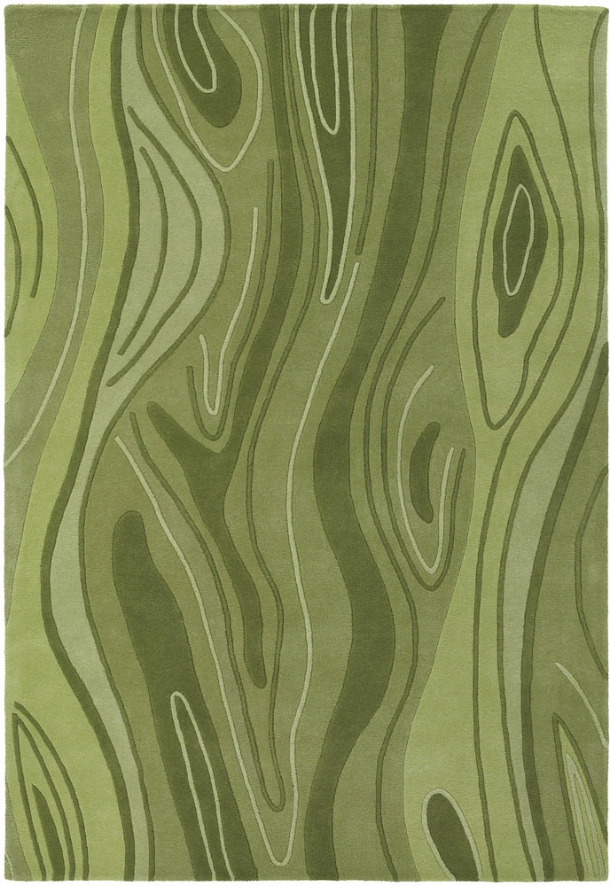 inhabit collection handtufted area rug green wood grain design by chandra rugs