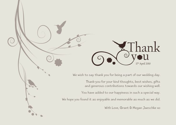 8 sample thank you card wedding in 2020  thank you card