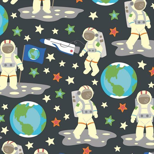 Fabric Fixation - Outer Space - Glow in the Dark - Astronauts