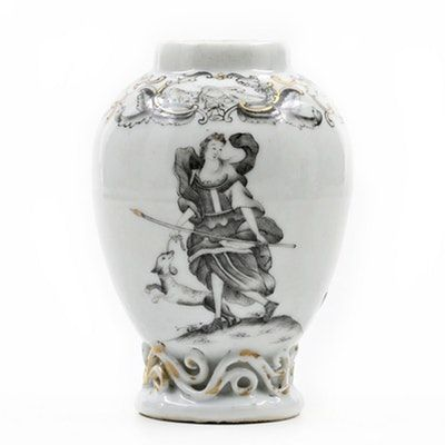 "Chinese Qing (1736-1796) ""Jesuit Ware"" Export Porcelain Grisaille Teapoy"