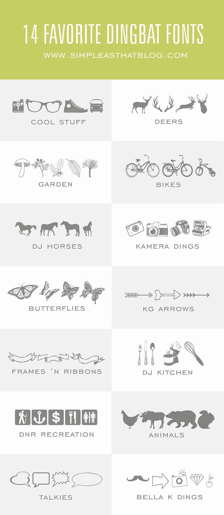 14 Favorite Dingbat Fonts - best thing about these? You can use them with your Silhouette to cut them out.
