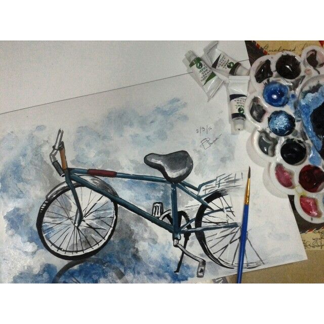 Bicycle watercolor painting I re-draw as practise from original picture by Julia Barminova  Check out my Instagram @mpupuutt