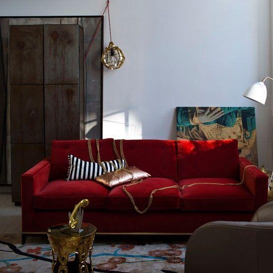 Rot und Gold Wohnzimmer Wohnideen Living Ideas Interiors Decoration