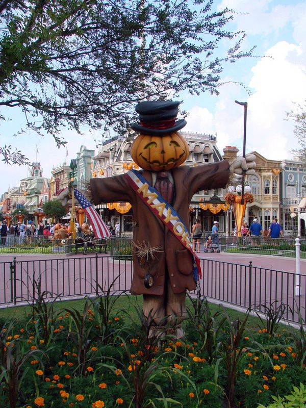 a scarecrow version of mayor weaver at the magickingdom halloween at disneyworld - Disney World Halloween Decorations