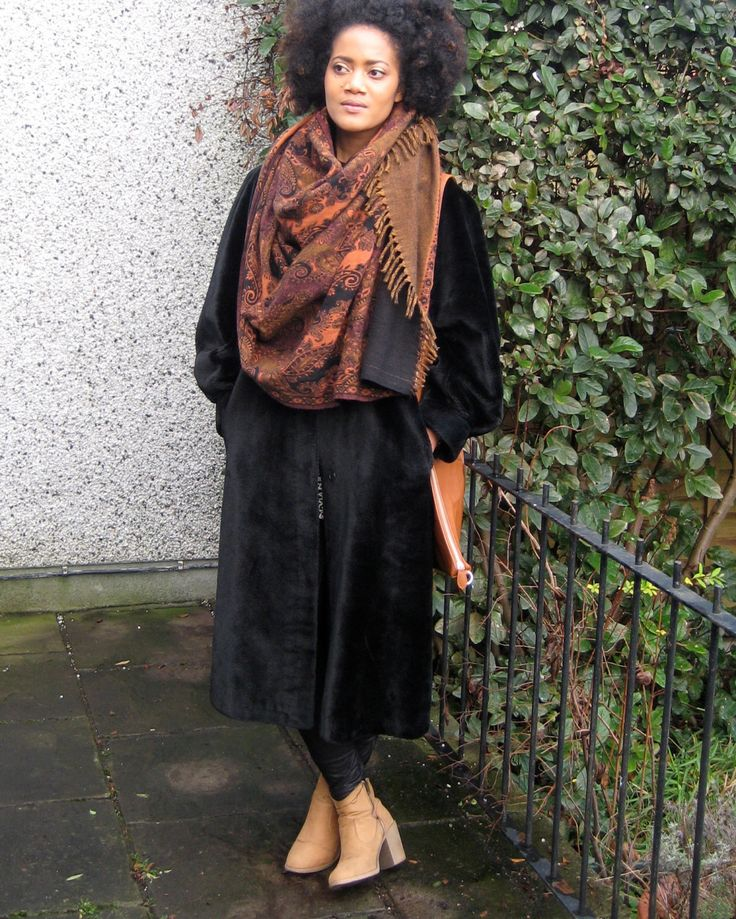 Vintage Black Faux Fur Coat by DottyTheresaVintage on Etsy