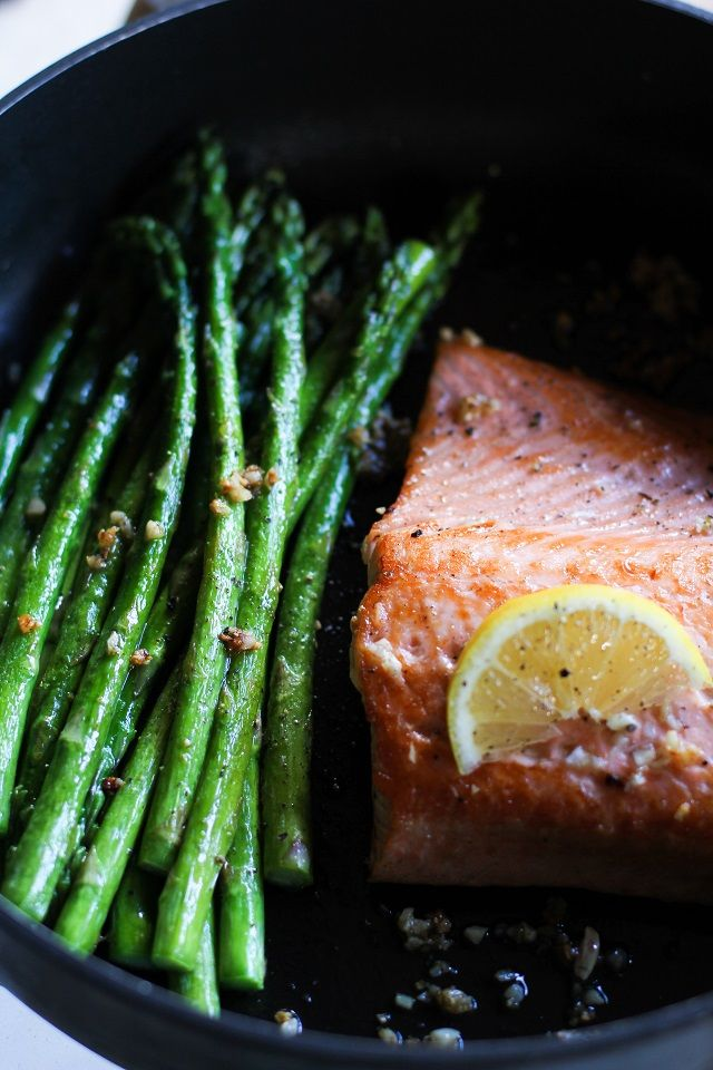 Garlic and Lemon Pan-Seared Salmon and Asparagus - an easy and healthy meal that can be made in under 30 minutes! On MRC recipes reduce butter to 1 TBSP.