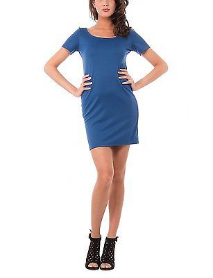 Medium, blue (INDACO), Olivia Women's Abito Tubino Con Manica Corta Dress NEW