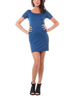 Medium, blue (INDACO), Olivia Women's Abito Tubino Con Manica Corta Dress NEW