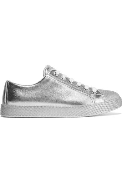 PRADA Metallic textured-leather sneakers. #prada #shoes #sneakers