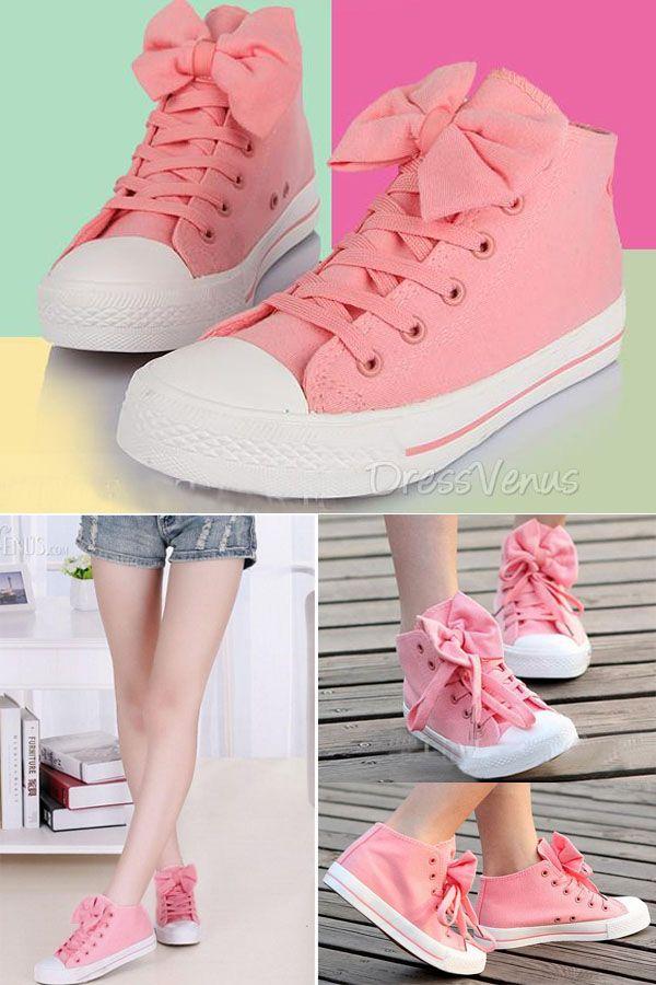 #Sneakers #Sweet Pink Pretty Cute Bow Comfortable Sneaker.