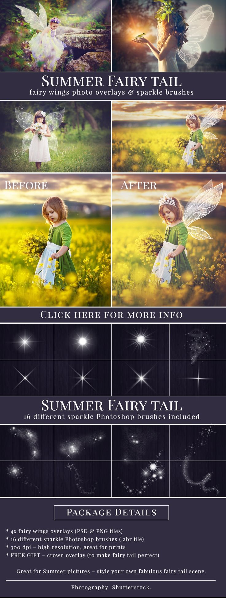 Fairy Wings photo overlays with bonus - 16 different sparkle brushes and crown…