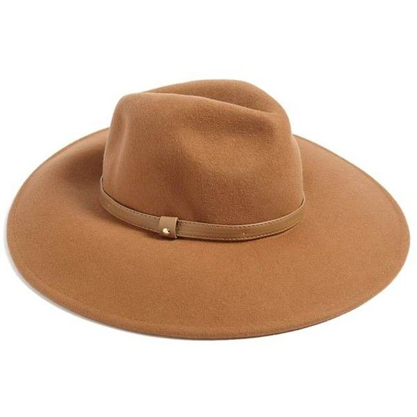 Forever21 Wide Brim Felt Fedora ($20) ❤ liked on Polyvore featuring accessories, hats, camel, fedora hat, camel fedora hat, forever 21 fedora, felt fedora and felt fedora hat