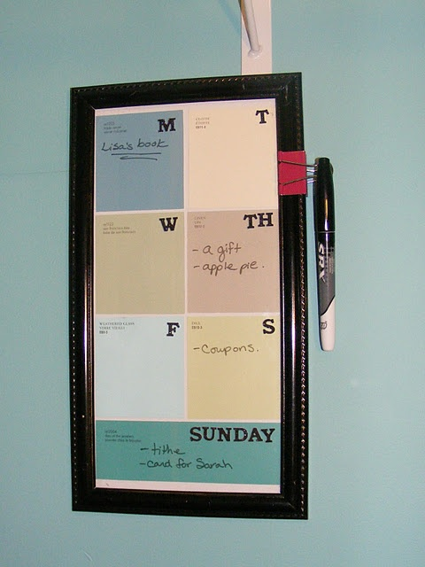 Dry erase weekly minder: paint chips behind glass: The Doors, Dry Era, Old Frames, Binder Clip, Imperfect Homemaking, Memo Boards, Pictures Frames, Coats Closet, Paintings Chips