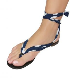 Shutini's Polka Dot Strap features a short, patterned, navy and white strap which combines a mixture of high quality lycra and cotton.  On #sale for $6.95. #shoes
