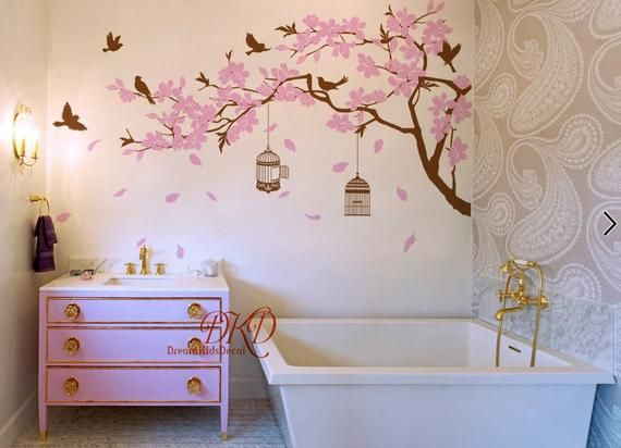 Wall Decal Nursery Wall Stickers Cherry Blossom Tree Branch With Birds Birdcage Nursery Wall Decals Dk371 Nursery Wall Decals Nursery Wall Stickers Wall Decals
