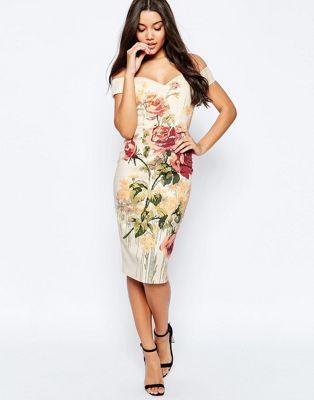 ASOS Vintage Floral Off The Shoulder Bardot Hitchcock Midi Pencil Dress