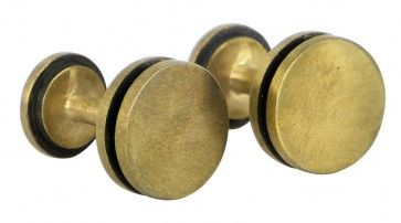 Circle cufflinks in brass - $135