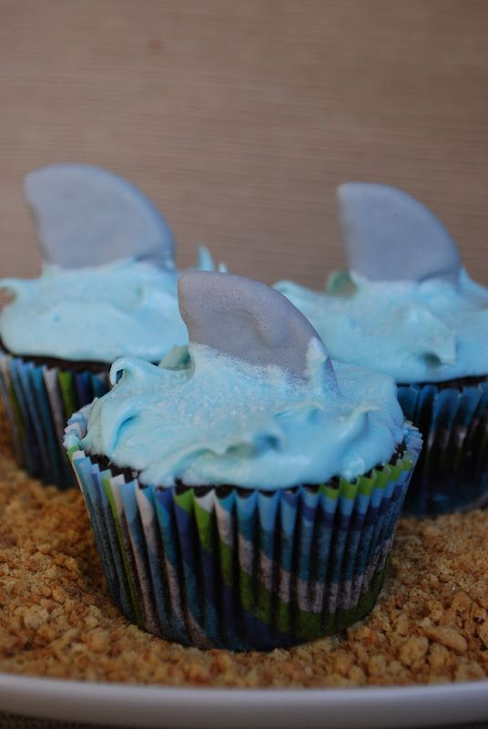Shark Cupcakes, beach, under the sea party