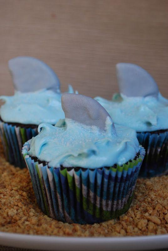 Shark Cupcakes, beach, under the sea party