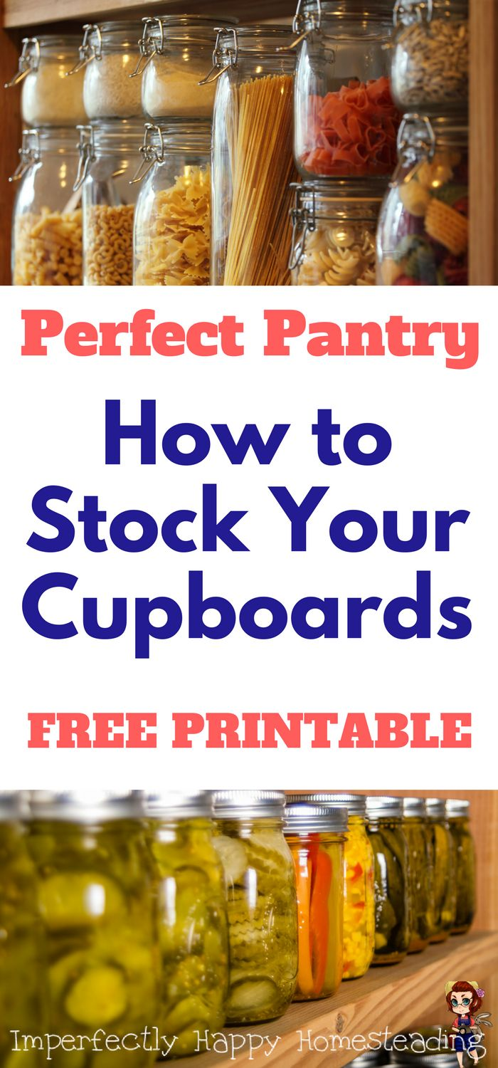 The Perfect Pantry - How to Stock Your Cupboards. Free Printable List! Great list to for everyday, emergencies & more.
