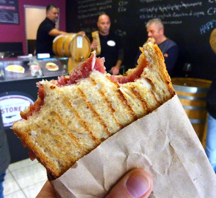 Il Crostone, a great spot in Turin for a satisfying sandwich like this one (carne cruda with bagna cauda...taste it to believe it!)