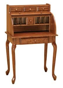 Amish Queen Anne Secretary Roll Top Desk It S The Best Of Both Worlds With This Wood Offering Versatility A And Old Fashioned