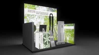 427 Heizungsanlagen Zeus Sustainable   Schöner Messestand für einen Hersteller von Heizungsanlagen.   Der kleine Reihenstand fällt durch die hohe, einseitig hinterleuchtete Rückwand und...