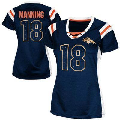 Peyton Manning Denver Broncos Women's Draft Him Shimmer V-Neck T-Shirt - Navy Blue