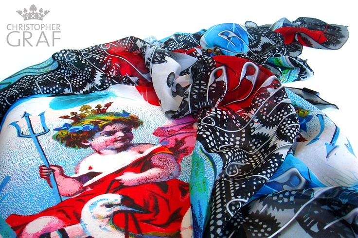 'She Devil'  Limited Edition Silk Scarf designed by CHRISTOPHER GRAF