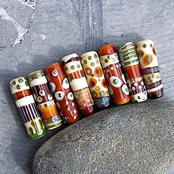 mrumru handmade lampwork glass tube beads beautiful