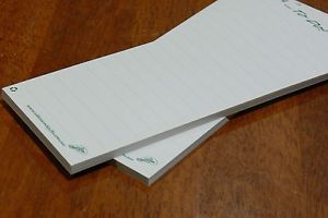 2 x Recycled Paper 'to do/shopping list' Notepads. Can be used as is or refills for our A5 Whiteboard Memo & Notepad Holder Magnet.  New Release: Now comes with 50 leaf/pages & made from unbleached recycled paper.  Refer to eBay link for full details & purchasing.