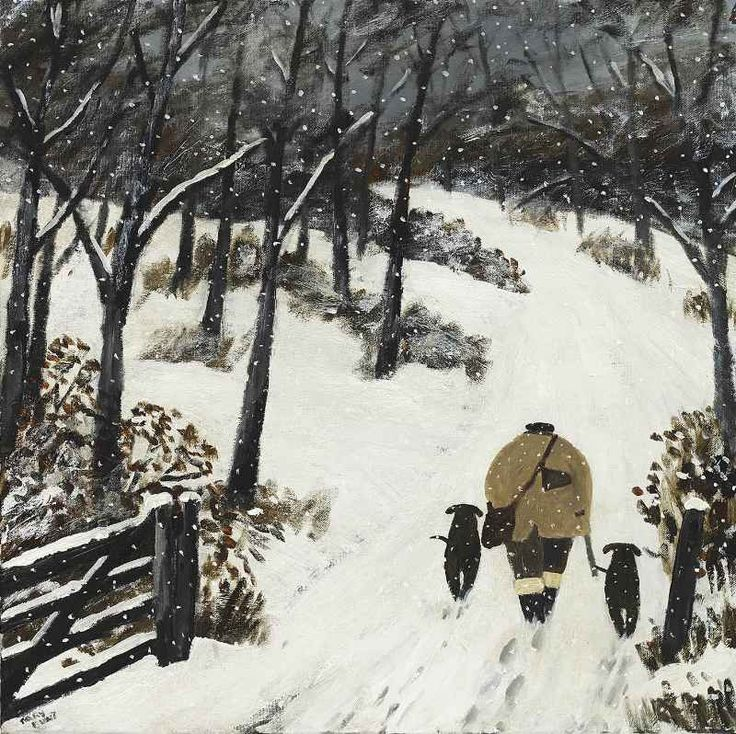 Gary Bunt | (04) Out Here GARY BUNT  (04) Out Here  Oil on canvas  24 x 24 ins  SOLD  I love to be out here, outdoors In the snow with my gun And my Labradors