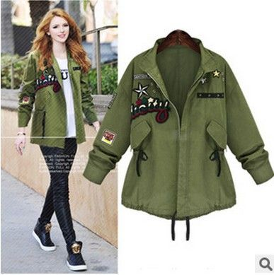 Army Style Plus Size Belt Casual Loose Flower Print Long Sleeves Jacket
